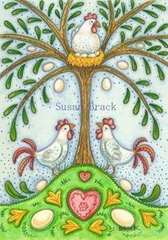 CHICKEN TREE FOLK ART  Susan Brack This would make a cute cross stitch.