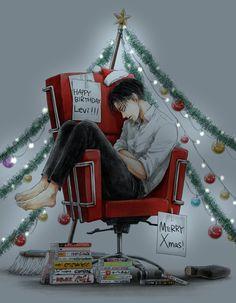 "kamiyazaki: ""HAPPY BIRTHDAY LEVI ACKERMAN MAN OF MY LIFE and merry Christmas  """