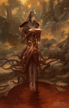 Zaqiel, Angel of Purity by PeteMohrbacher demon devil sacrifice tentacles roots…