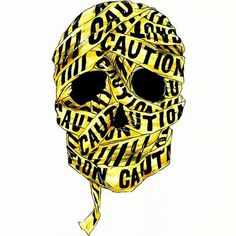 Caution Tape Skull Illustration   JYCTY