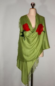 Felted Pashmina Scarf with Red Rose Green Olive Scarf by Filtil, $53.00