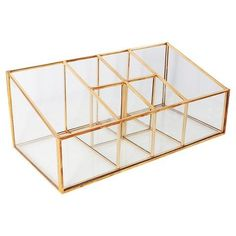 vanity organizer - Threshold™ Glass and Metal Incline 6 Compartment Vanity Organizer