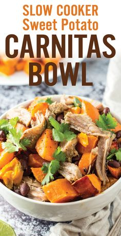 Hearty and healthy fall Slow Cooker Sweet Potato Carnitas Bowls. Less than 30 minutes of prep for an easy gluten free weeknight meal. Caramelized sweet potatoes with marinated pork carnitas, black beans, bell peppers and onion. - www.platingpixels.com