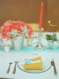 Beautiful tablescape with coral and pink and aqua