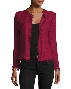 IRO Shavani Open-Front Boucle Jacket, Wine- A statement classic jacket to wear everywhere! Pair it with jeans, a leather skirt or you can also layer it with one of the beautiful floral prints that are so trendy!