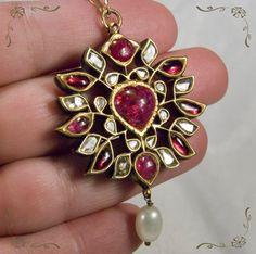 Kundan Judau Moghul Polki Diamond Ruby Enamel Pearl 14k Gold Katsai Necklace