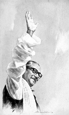 BW version of a Bangabandhu's portrait by painter Shahabuddin