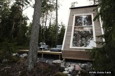Nido Cabin by Robin Falck - Cabin tiny house in Sipoo, Finland made with recycled materials - Dwell Tiny House Swoon, Best Tiny House, Tiny Cabins, Wooden Cabins, Wooden House, Cabin Design, Home Design, Lakeside Cabin, Secluded Cabin