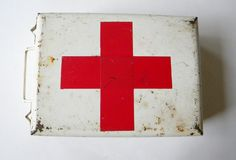 vintage red cross metal storage box french first aid medicine box