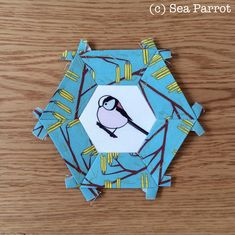 Long-tailed tit and catkins hexie patchwork block. Original fabric designs from a Sea Parrot available on Folksy or directly from me. Patchwork Fabric, Fabric Design, Parrot, Sea, Quilts, Inspiration, Parrot Bird, Biblical Inspiration, Patch Quilt