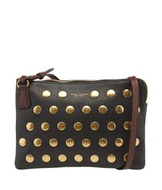 Marc Jacobs Studded Black & Brown Leather Crossbody Bag #MarcJacobs #CrossbodyBag