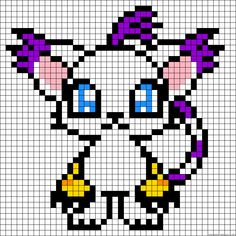 Gatomon - Digimon perler bead pattern