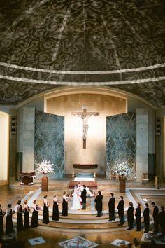 wedding ceremony at St. John Neumann Catholic Church in Austin, Texas