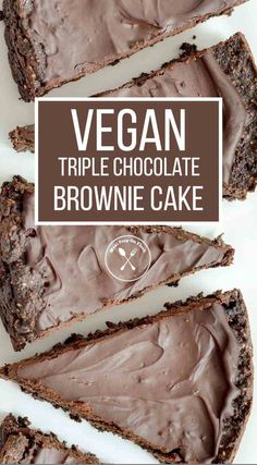 Vegan Triple Chocolate Brownie Cake - This Vegan Triple Chocolate Brownie Cake is a dairy-free, egg-free, and paleo way to enjoy a healthy, yet decadent vegan dessert! The dark chocolate ganache adds an almost sinful, yet elegant touch. #paleodessert #vegandesserts #glutenfreedesserts