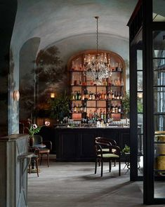 One of our favorite restaurants in NYC, where the bar is as pretty as the food. Restaurant designed by Mural by artist Dean Barger . Restaurant New York, Fun Restaurants In Nyc, Deco Restaurant, French Restaurants, Restaurant Interior Design, Modern Restaurant, Luxury Restaurant, American Restaurant, Bistro Interior