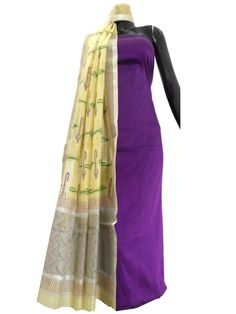 Silk Cotton Kurta and Blockprint Chanderi Dupatta- Purple&Cream