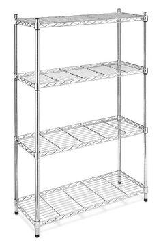Whitmor 6060-322 Supreme 4-tier Shelving Unit, Chrome