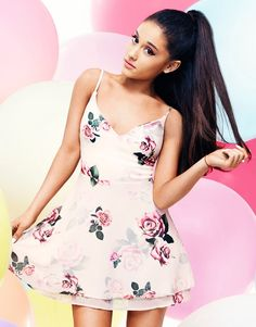 Ariana Grande For Lipsy Rose Print Layered Skater Dress