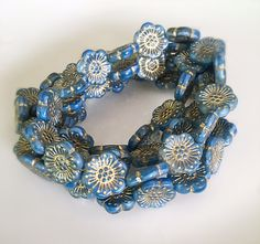 NEW Blue Flower Czech Glass Beads Blue Gold Picasso Flower Beads Czech Beads Czech Flower Beads Pressed Flowers 18mm (2 pcs) 6V1
