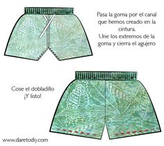 Blog de moda DIY (Do It Yourself): Ideas y tutoriales para customizar tu ropa de manera fácil Embroidery Patterns, Sewing Patterns, Diy Fashion Projects, Diy Projects, Shorts Tutorial, Diy Dress, Diy Clothing, Patterned Shorts, Diys