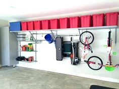 You will never need another garage shelving system! Monkey Bars Garage Storage m… You will never need another garage shelving system! Monkey Bars Garage Storage moves and grows as your storage needs do. What could be better than that? Garage Organization Tips, Garage Storage Solutions, Diy Garage Storage, Garage Shelving, Garage Shelf, Garage Workbench, Garage Cabinets, Overhead Garage Storage, Shelving Ideas