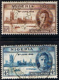 Nigeria 1946 King George VI Victory Set Fine Used SG 60 61 Scott 71 72 Other Nigeria Stamps HERE