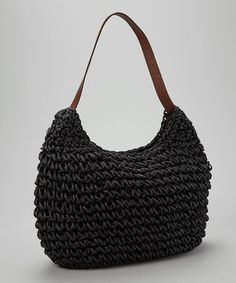 Take a look at this Black Loop Shoulder Bag by Straw Studios on #zulily today!