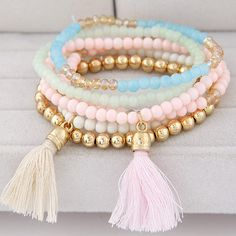 bead tassel bracelet on sale at reasonable prices, buy LEMOER Bohemian Sweet Candy Color Multilayer Beads Tassels Bracelet Bangles Pulseiras Feminina Joker Charm Elastic Women Jewelry from mobile site on Aliexpress Now! Jewelry Clasps, Tassel Jewelry, Diy Jewelry, Beaded Jewelry, Jewelery, Jewelry Bracelets, Handmade Jewelry, Jewelry Design, Fashion Jewelry