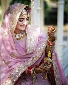 Baby Pink Punjabi Wedding Suit with pink gold lehenga dupatta. Bridal Suits Punjabi, Punjabi Bride, Pakistani Bridal Dresses, Modest Wedding Dresses, Bridal Lehenga, Indian Dresses, Sikh Wedding Dress, Gold Lehenga, Lehenga Dupatta