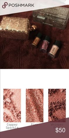 MAC SNOWBALL PINK PIGMENT SET (NEW) MAC SNOWBALL LIMITED EDITION  PIGMENT SET INCLUDES A GORGEOUS ROSE GOLD SEQUINED COSMETIC BAG, 2 PIGMENTS, AND 1 GLITTER.  BRAND NEW WITH ORIGINAL BOX. BEAUTIFUL PIGMENTS AND GLITTER. MAC Cosmetics Makeup Eyeshadow