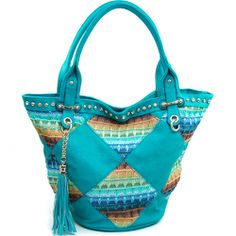 Women's Fashion V-Frame Rhinestone Studded Tote w/ Faux Straw Stitch Design - Turquoise Color: Turquoise Studded Bag, Turquoise Color, Stitch Design, Fashion Handbags, Studs, Womens Fashion, Frame, Picture Frame, Spikes