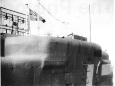 U3037 showing the broad yellow stripe of a training boat. The FuMO61 Hohentwiel radar antenna can be seen behing the Kriegsmarine ensign. Barely visible in the centre is the the Bali receiver antenna for the radio.