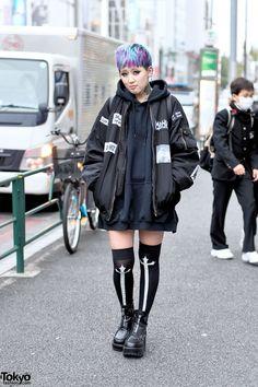 Harajuku Girl in Bomber Jacket & Thigh Highs