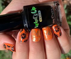 Orange Nails! 🍊💅🏻 .Products Used:@chinaglazeofficial - Red- Y To Rave@whatsupnails - Go for Glid@whatsupnails - Neither Noir@whatsupnails - #3 brush@pueencosmetics - latex tape@sechenails - Seche Base@hellomaniology - Smudge Free Top Coat@hellomaniology - clear stamper@moyou_london - 08 Tropical Collection .  #nails  #orangenails🍊 #orangenails💅 #nailsonfleek #nailstamping Nail Art Diy, Easy Nail Art, Cool Nail Art, Diy Nails, Cute Designs, Nail Art Designs, Neon Flowers, Red Y, Nail Art For Beginners
