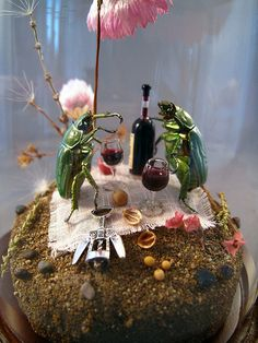 beetles drinking wine insect diorama