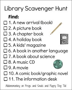 Scavenger Hunt Love this Library Scavenger Hunt to help kids get to know where they can find various items!Love this Library Scavenger Hunt to help kids get to know where they can find various items! Library Week, Teen Library, Library Skills, Library Books, Photo Library, Library Science, Library Activities, Library Games, Indoor Activities