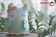 Corujas de tecido 100% algodão e apliques em feltro, Ideal para decoração de quarto,festas ou lembrancinha. R$45,00