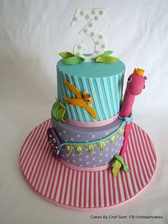 Girly Dino cake - by chefsam @ CakesDecor.com - cake decorating website
