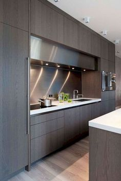 Browse photos of modern kitchen designs. discover inspiration for your minimalist kitchen remodel or upgrade with ideas for storage, organization, layout Home Design, Luxury Kitchen Design, Contemporary Kitchen Design, Luxury Kitchens, Interior Design Kitchen, Modern Interior Design, Kitchen Designs, Modern Interiors, Black Kitchens