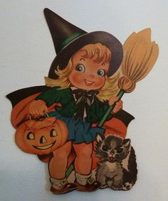 Vintage Dennison Halloween Witch Die Cut by MissConduct*, via Flickr