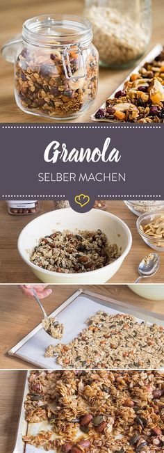 Granola selber machen Would you like a crunchy muesli without raisins? Maybe free of sugar too? We'll show you how to easily make your own cereal. Muesli, Granola Cereal, Granola Oats, Low Carb Granola, Vegan Granola, Chocolate Granola, Cereal Recipes, Paleo Dessert, Healthy Breakfast Recipes