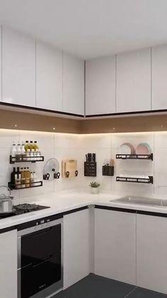 Kitchen Cupboard Designs, Kitchen Design Open, Interior Design Kitchen, Kitchen Storage, Kitchen Organization, L Shaped Kitchen Interior, Parallel Kitchen Design, L Shaped Kitchen Designs, Kitchen Modular
