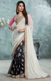 Show details for Vivacious Navy Blue and Off White Saree
