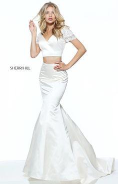d4974e485cf8 Two Piece V Neckline Ivory Sherri Hill 51119 Beaded Short Sleeves 2017 Long  Satin Prom Dresses