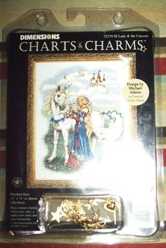 "Dimensions Charts & Charms, ""M'Lady & The Unicorn"", Counted Cross Stitch Pattern #Dimensions #CountedCrossStitch"