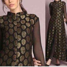 Bollywood Designer Indian pakistani brocade long Kameez salwar pant Suit size L