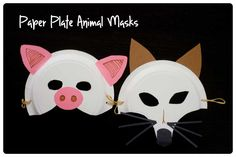 Paper Plate Animal Masks - Peapod Labs Plus Paper Plate Animal Masks, Paper Plate Art, Paper Plate Crafts, Paper Plates, Pig Mask, Wolf Mask, Three Little Pigs, Animal Crafts, Preschool Crafts