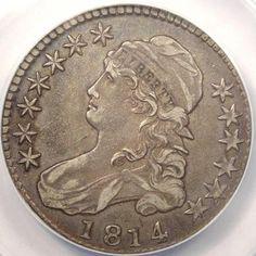 ★ 1814 Bust Half Dollar 50c ANACS XF45 EF45 RARE Early Date Coin ★ | eBay