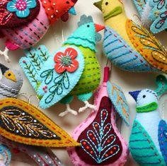 Little felt birds..