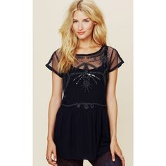 Free People Fancy Beaded Tunic  Beautifully beaded sheer tunic top in a size Medium. In pristine condition- No flaws at all  Please feel free to ask any/all questions! Free People Tops Tunics
